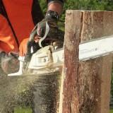 couper le bois : tronçonneuse + gants